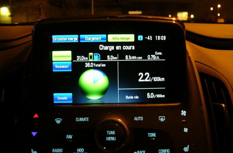 Consommation de l'Opel Ampera Chevrolet Volt par grand froid