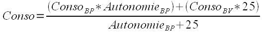 Formule de calcul de la consommation combinée