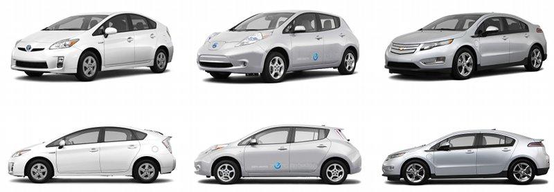 Chevrolet Volt, Nissan Leaf, Prius plug-in